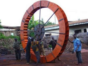 Craftskills - Water wheel at a water project in Cameroon