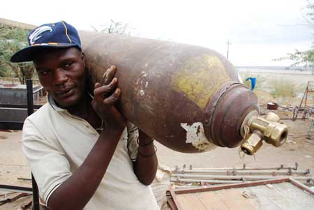 It starts with a discarded gas cylinder