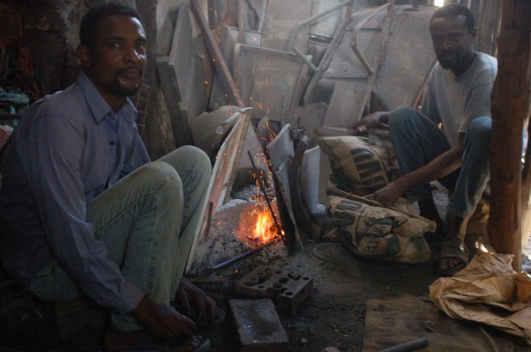 Cement bag bellows and blacksmiths in Lamu Kenya