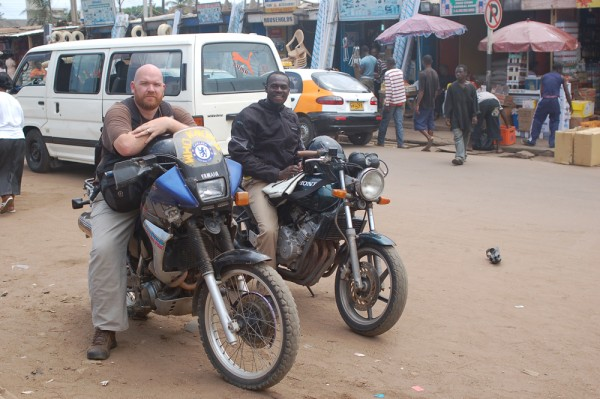 Me and Henry out on the motorcycles in Accra Ghana
