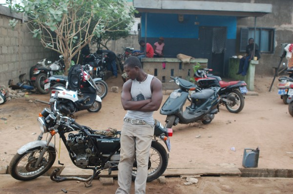 Motorcycle mechanic's shop